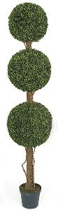 Artificial Topiary Trees, Outdoor Topiary, 60 inch Polyblend Boxwood Triple Ball Topiary